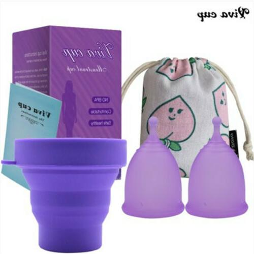4in1 Women Reusable Menstrual Cup with Sterilize Cup & Stora
