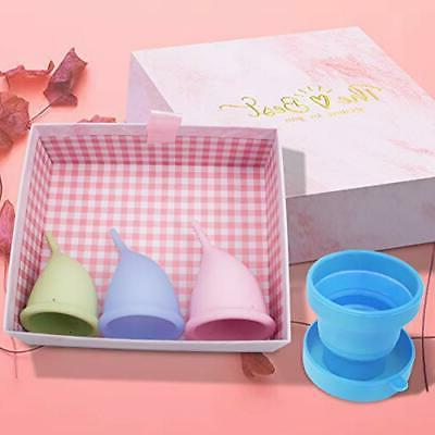 Menstrual Period Cup Set of 3 with Reusable Collapsible Silicone